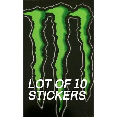 "MONSTER ENERGY STICKER 4"" x 3"" -10 GREEN  M-CLAW GLOSSY DECAL STICKER BRAND NEW"