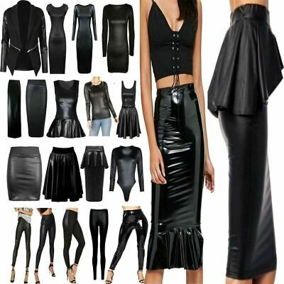 Ladies Womens Wet Look Pvc Leather Dress Bodycon Tunic Top Legging Skirts Lot