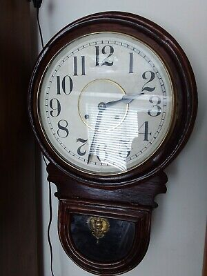 Waterbury Andes Station School House Drop Dial Wall Clock  Working Condition