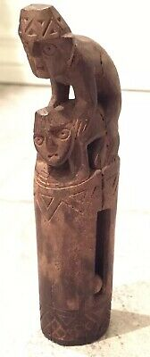 Stunning 700AD Peru Moche Culture Carved Wood Erotic Warrior & Captive Rattle