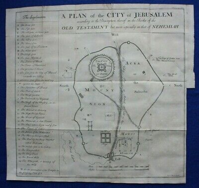 Original antique map / plan CITY OF JERUSALEM, Emanuel Bowen, 1747