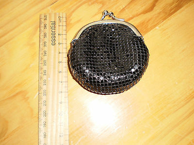 Vintage Glo-Mesh Black & Silver Coin Purse