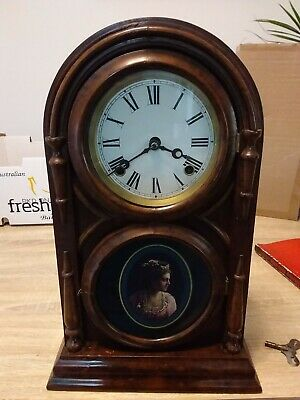Mahogany Dome Topped Mantle Clock With Lovely Portrait Of A Beautiful Lady
