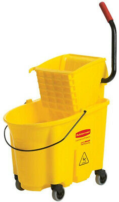 Rubbermaid 35 Qt. Heavy Duty Yellow Plastic Mop Bucket with Removable Wringer