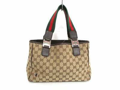 8c3472715e2 Auth GUCCI GG Shelly 145810 Beige Dark Brown Jacquard   Leather Tote Bag