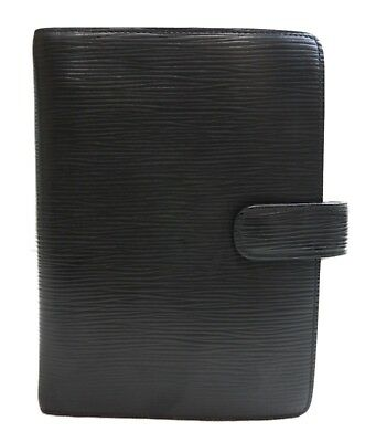 Authentic LOUIS VUITTON Epi Agenda MM notebook cover Black PVC #9557
