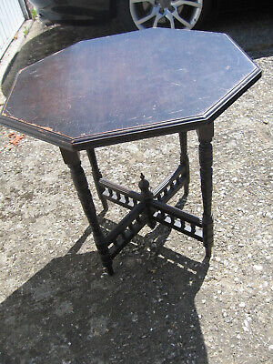 Antique Victorian Black Ebonised Hexagonal Coffee Occasional Table