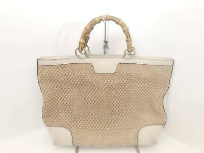 ba5a4406ae9 Auth GUCCI Bamboo Shopper 338965 Beige Ivory Straw Leather Tote Bag