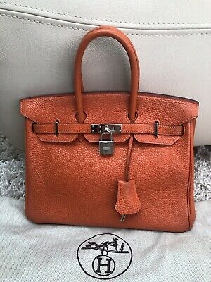 c17762be78d2 Authentic Hermes Birkin 25 Orange Togo Leather With Bababebi Authentication.
