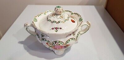 Antique Coalport Sucrier with Hand Painted Flowers c.1830