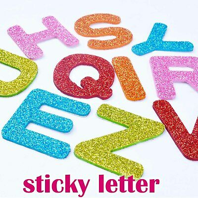 LETERS Glitter BIG Alphabet Letter Stickers Self Adhesive DIY  A4 DACORATION
