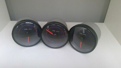 DRIFT 60mm SATURN BLACK 3 GAUGE SET - BOOST, OIL PRESS & WATER TEMP