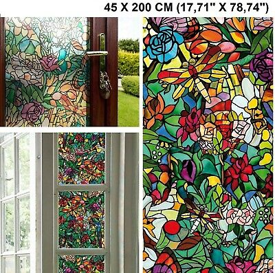 Vinyl Stained Glass Window Film.Self Adhesive Window Door Film Vinyl Stained Glass Effect