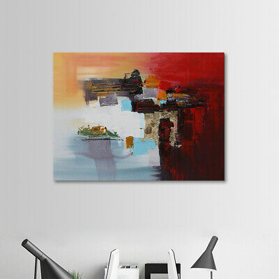 Framed Modern Abstract Oil Painting Handmade Large Wall Art Stretched On Canvas