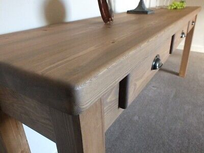 Stunning Statement Piece Country Rustic Pine Console Table with Three Drawers