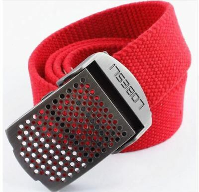 Mens Quality Canvas Belt - Red Belt Mesh Detail Buckle - 5 Sizes - BE0019