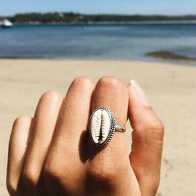 Women Boho Natural Shell Cowrie Finger Ring Beach Gold Rings Summer Jewelry Gift