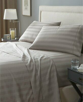 1000TC Cotton Blend Stripe 4 Pieces Flat Fitted Sheet Set S/KS/D/Queen/King Bed