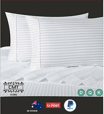 1000TC Egyptian Cotton Bed Sheet Set 4 pcs Stripe Queen King Double Flat Fitted
