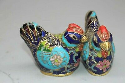 Collectible two China Palace Cloisonne Brass chicken cock Noble Decorated Statue