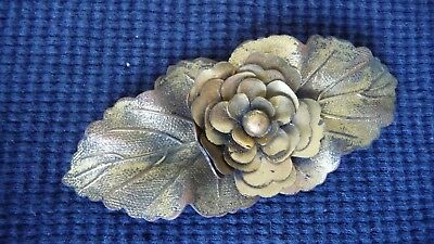 #512K vtg BELT BUCKLE Women`s Art Deco  gold tone metal 3 1/4'' L x 1 1/2'' W