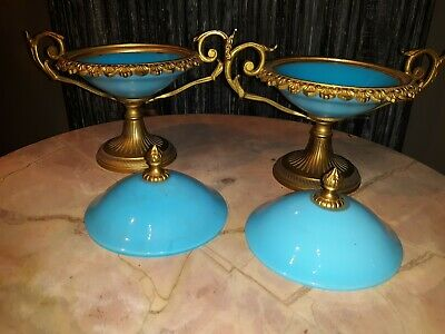 Pair Antique French Opaline Blue Glass and Bronze Mounted Compotes