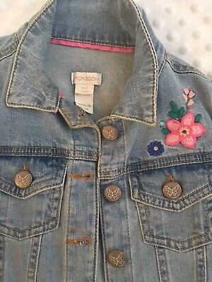 Monsoon Baby Girl Denim Jacket With Floral Embroidery Age 12-18 Months