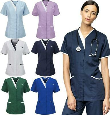 Womens Hospital Nurses Maid Zip Fastening Tunic Ladies Healthcare Uniform Top
