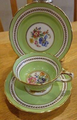 Vintage Tea/Wedding Party Trio Pretty Green and Floral Cup, Saucer and Tea Plate