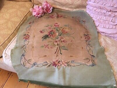 Antique French Floral Tapestry Pink Seafoam Green Needlework 1920s