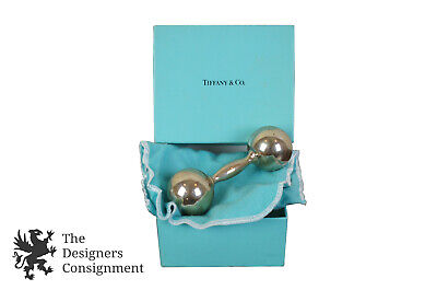 Tiffany & Co Vintage 1980s Sterling Silver Barbell Baby Rattle Original Box Rare