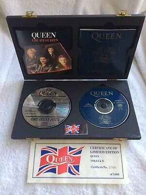Queen Greatest Hits Vols. I & II Limited Edition CD Box Set U.K Very Rare COA