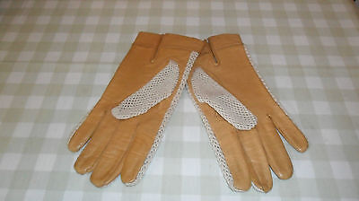 Vintage Tan Leather And Cream Driving Gloves Size 8