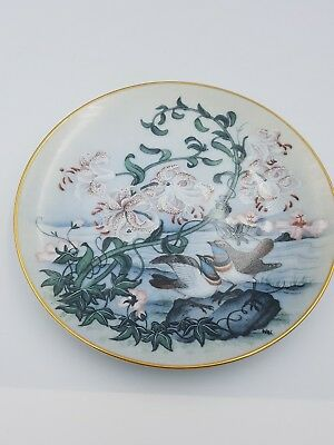 "Franklin Porcelain Japanese 7.5"" Display Plate Exotic Birds Oriental Lilies 1981"
