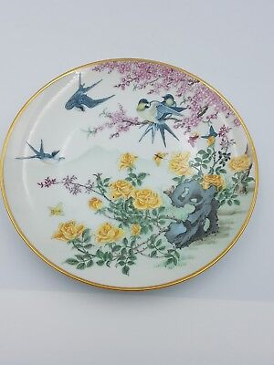 "Franklin Porcelain Japanese 7.5"" Display Plate Swallows Birds Yellow Roses-1981"