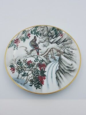"Franklin Porcelain Japanese 7.5"" Plate Jaybird Red Berries River Winter Scene"