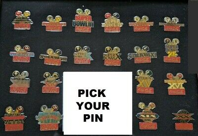 Vintage NFL Super Bowl Coca Cola Dueling Helmet Pin 1985 - Pick your Pin