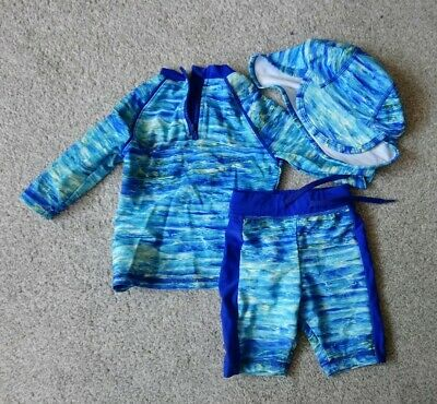 Baby Boys M&S Swimming Costume And Sun Hat 9-12 Months