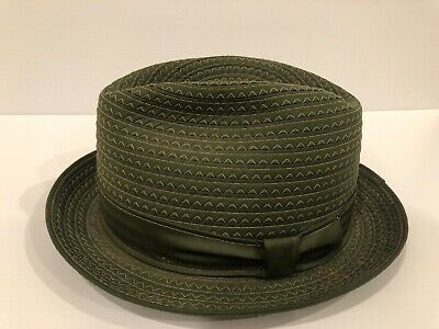 Vintage Mens Stetson Fedora Olive Green Size 7 1/8 Crushable Water Repel