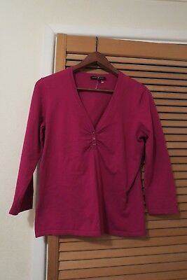 LAURA ASHLEY purple stretchy top with pretty crystal shaped beads size 12