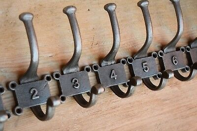 Ten Numbered Vintage Industrial Style Cast Iron Coat Hooks peg 1 to 10 hall hook