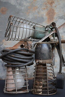 3 Vintage Industrial Gripper Lamps light old lighting wire cage bulb factory old