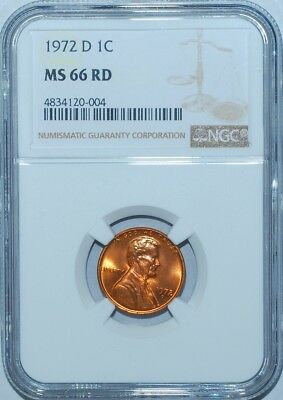 1972 D NGC MS66RD Red Lincoln Cent