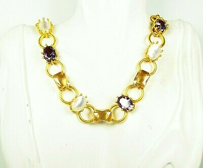 "KATE SPADE ""Blooming Bling"" Gold Plated Mother of Pearl & Crystal Beads Necklace"
