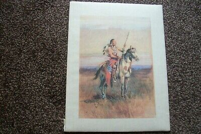 native american print  of arapahoe warrior  scouting the land -signed by artist