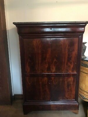 Lovely Escritoire 19th Century Writing Desk Cabinet with Marble Top