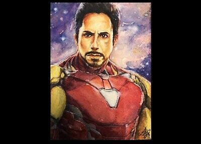 Original Painting Watercolor ACEO Art Card - Tony Stark- Iron man By AJ Eakatana