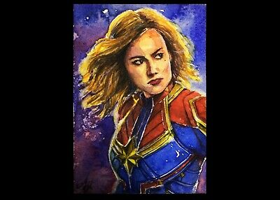 Original Painting Watercolor ACEO Art Card - CAPTAIN MARVEL By AJ Eakatana