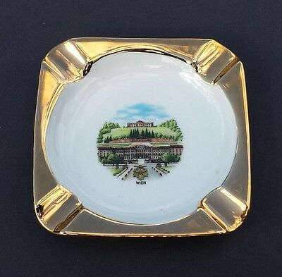 "Ashtray WIEN ( Vienna ) 4"" by 4"" Fine Porcelain with Gold Paint Collectible 1970"