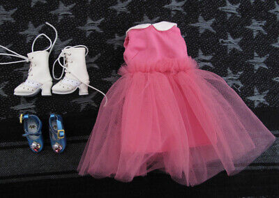 Mini Doll White Boots, Blue Shoes and Pink Dress For Blythe/ Lati/ Pulip